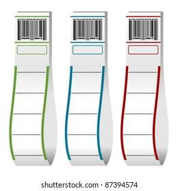Luggage paper tags with barcode over white background