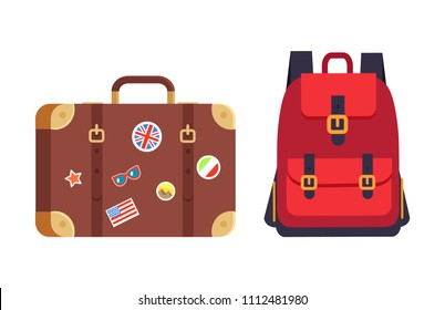 Luggage and red rucksack having pockets straps, baggage decorated with stickers of countries flags, pyramids of Egypt, isolated on vector illustration