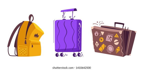 Luggage set for travel. Cartoon vector illustration. Backpack, old and contemporary suitcases. Baggage on the plane