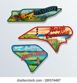 luggage sticker designs of Tennessee, South Carolina, and North Carolina United States