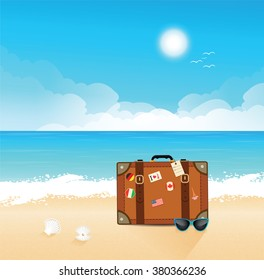 Luggage with traveling stickers at the beach. Summer theme. Beach and tropical sea.  Vector.
