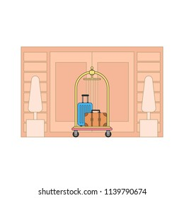 Luggage trolley in the hotel. Line art. Vector illustration
