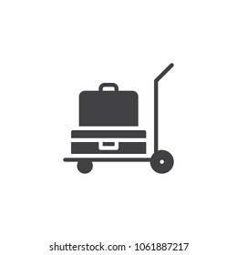 Luggage trolley vector icon. filled flat sign for mobile concept and web design. Baggage trolley cart simple solid icon. Symbol, logo illustration. Pixel perfect vector graphics