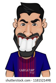 Luis Alberto Suarez Díaz Caricature. He is a Uruguayan professional footballer who plays as a striker for Spanish club Barcelona and the Uruguay national team. Image on white background.