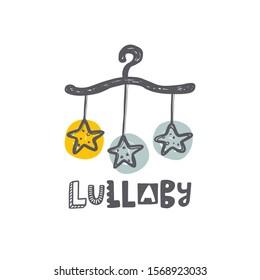 Lullaby hand drawn lettering. Child pastel blue inscription. Newborn baby hand drawn phrase poster, postcard design element. Kid birth celebration banner design element