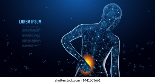 Lumbar pain in a woman back pain. Сoncept of the disease back, violation of waist, lumbar vertebrae and intervertebral discs. Tired man with severe lumbar pain. Low poly concept. Vector illustration
