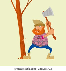 Lumberjack with an ax chopping wood, vector cartoon character