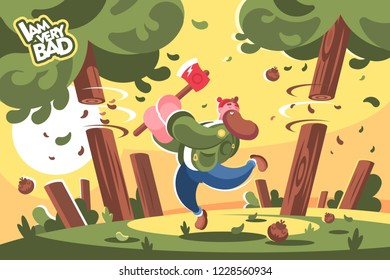 Lumberjack with ax cutting down trees in forest. Bearded man feller chopping wood with axe flat style concept vector illustration.
