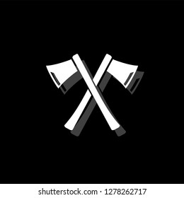 Lumberjack axes crossed. White flat simple icon with shadow