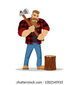 Lumberjack brutal bearded man in red checkered shirt with axe in hands. Woodcutter. Wanderlust, hiking and travel concept. Worker lumber with wood, character cartoon woodcutter on the white background
