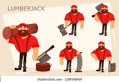Lumberjack cartoon character, set of five poses. Handsome logger. Vector illustration on white background.