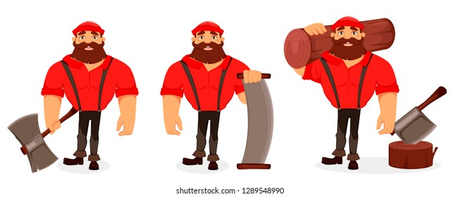 Lumberjack cartoon character, set of three poses. Handsome logger holding big axe, holding two-handed saw and holding log. Vector illustration on white background.