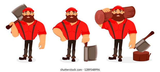Lumberjack cartoon character, set of three poses. Handsome logger holding big axe and holding log. Vector illustration on white background.