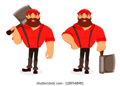 Lumberjack cartoon character, set of two poses. Handsome logger holding big axe. Vector illustration on white background.