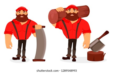 Lumberjack cartoon character, set of two poses. Handsome logger holding big log and holding two-handed saw. Vector illustration on white background.