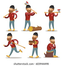 Lumberjack Cartoon Character Set. Woodcutter with Axe. Vector illustration