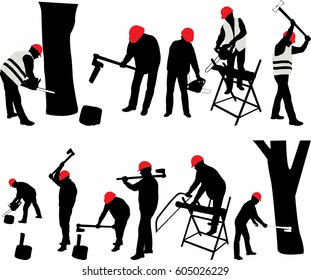 Lumberjack with a chain saw and ax - vector