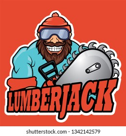 lumberjack with a chainsaw drawn in cartoon style