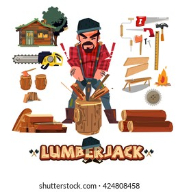 Lumberjack character design with tool set. lumberjack chopping wood with axe and come with typographic design. profession concept - vector illustration