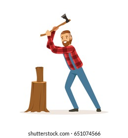 Lumberjack chopping wood with an axe colorful character vector Illustration