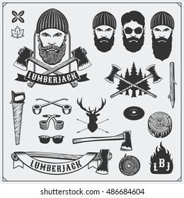 Lumberjack collection. Lumberjack characters and tools. Axes, saws and trees. Vintage style. Monochrome illustration.