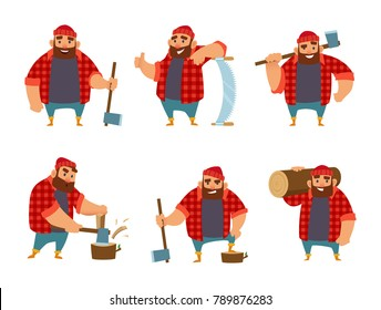 Lumberjack in different action poses. Vector funny character woodcutter person with axe illustration