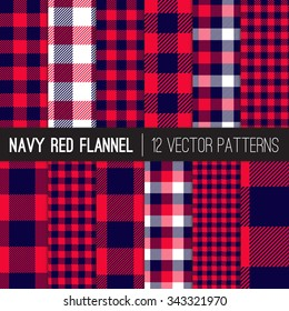 Lumberjack Flannel Plaid Vector Patterns in Navy Blue and Red Buffalo Check and Gingham. Trendy Hipster Style Backgrounds. Vector EPS File's Pattern Tile Swatches made with Global Colors.