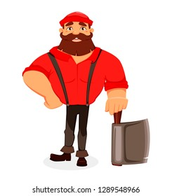 Lumberjack. Handsome logger holding axe. Cartoon character. Vector illustration on white background.
