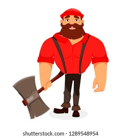 Lumberjack. Handsome logger holding big axe. Cartoon character. Vector illustration on white background.