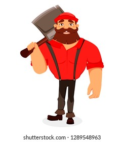 Lumberjack. Handsome logger holding big axe on his shouder. Cartoon character. Vector illustration on white background.
