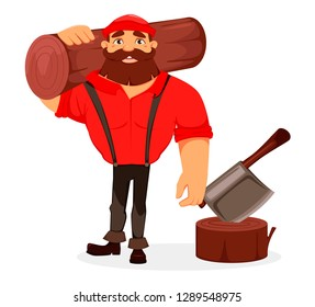 Lumberjack. Handsome logger holding big log. Cartoon character. Vector illustration on white background.