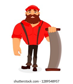 Lumberjack. Handsome logger holding two-handed saw. Cartoon character. Vector illustration on white background.