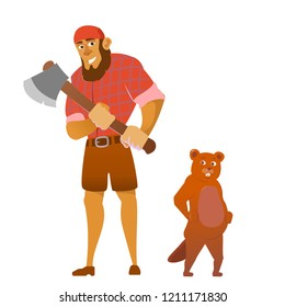 Lumberjack holding axe in hands and beaver. Vector pictures isolate on white. Worker lumber with wood, character cartoon woodcutter illustration