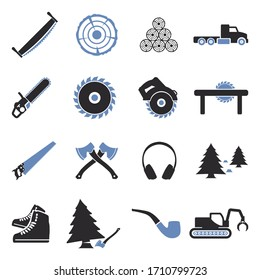 Lumberjack Icons. Two Tone Flat Design. Vector Illustration.