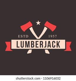 Lumberjack logo set. Union of lumberjack, woodcutter, woodsman. Graphic logo set with jaeger, axe, beard, forest, wood and lumberjack.
