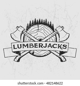 Lumberjack logo, t-shirt design with illustrated wood, trees, axes and ribbon. Hand drawn illustration.