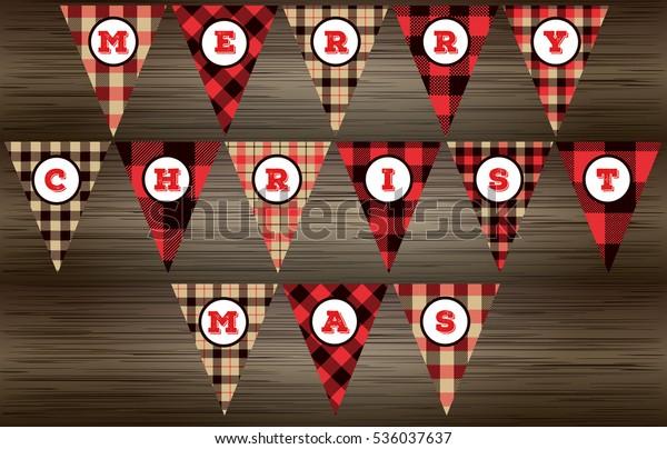 Lumberjack Merry Christmas Banner Red Black Stock Vector (Royalty Free) 536037637