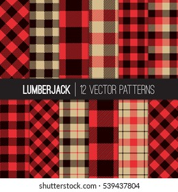 Lumberjack Patterns.  Red, Black and Camel Beige Buffalo Check Plaid, Tartan and Gingham Flannel Shirt Patterns. Trendy Hipster Style Backgrounds. Vector Tile Swatches made with Global Colors.