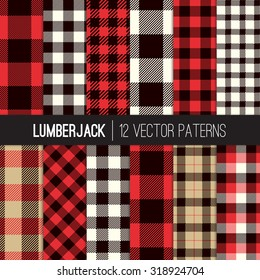 Lumberjack Plaid and Buffalo Check Patterns. Red, Black, White and Khaki Plaid, Tartan and Gingham Patterns. Trendy Hipster Style Backgrounds. Vector EPS File Pattern Swatches made with Global Colors.