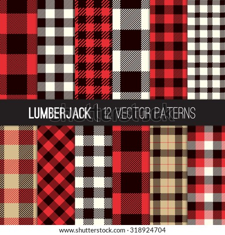Lumberjack Plaid Buffalo Check Patterns Red Stock Vector Royalty Custom Check Pattern