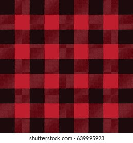 Lumberjack plaid flannel pattern vector. Seamless background. Black and red.