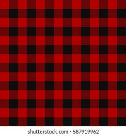 Lumberjack plaid pattern. Alternating red and black squares seamless background. Vector illustration.