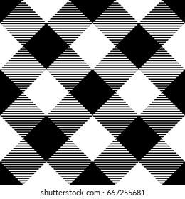 Lumberjack plaid pattern in black and white. Diagonal arrangement. Seamless vector pattern. Simple vintage textile design.