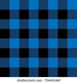 Lumberjack plaid pattern in navy blue and black. Seamless vector pattern