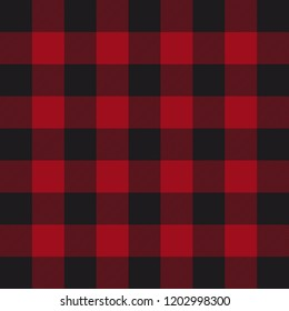 Lumberjack plaid pattern. Red and black lumberjack. Vector illustration.