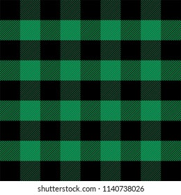 Lumberjack plaid. Scottish pattern in green and black cage. Scottish cage. Scottish checkered background in classic colors. Traditional scottish ornament. Seamless fabric texture. Vector illustration