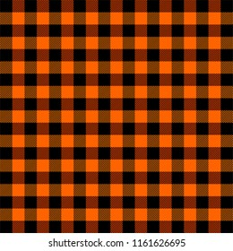 Lumberjack plaid. Scottish pattern in orange and black cage. Scottish cage. Buffalo check. Traditional scottish ornament. Seamless fabric texture. Vector illustration