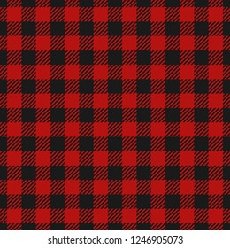 Lumberjack plaid seamless pattern flannel, Alternating dark red and black squares checkered background. Scottish cage. Vector illustration