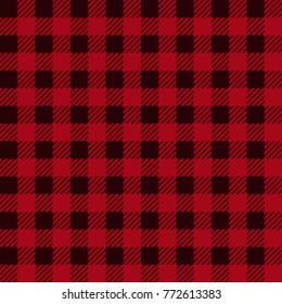 Lumberjack plaid seamless pattern in red, black. Vector texture of tartan for wallpaper