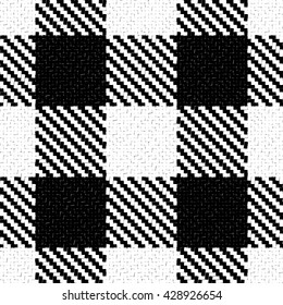 Lumberjack Seamless Black and White Vector Pattern. Trendy Hipster Style Background. Tartan and Buffalo Check Plaid Pattern. Vector illustration.